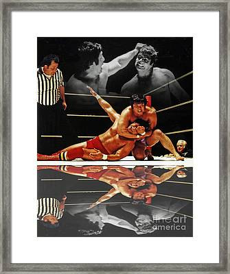 Old School Wrestling Headlock By Dean Ho On Don Muraco With Reflection Framed Print by Jim Fitzpatrick