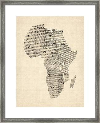 Old Sheet Music Map Of Africa Map Framed Print by Michael Tompsett