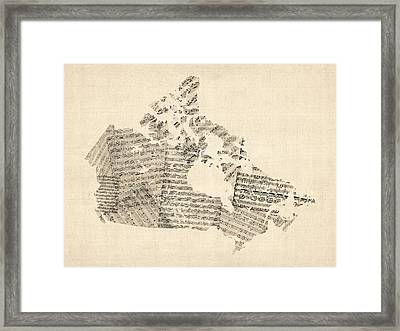 Old Sheet Music Map Of Canada Map Framed Print by Michael Tompsett