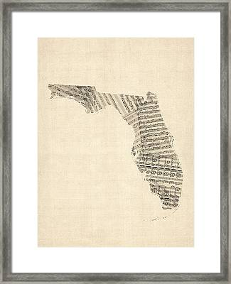 Old Sheet Music Map Of Florida Framed Print by Michael Tompsett