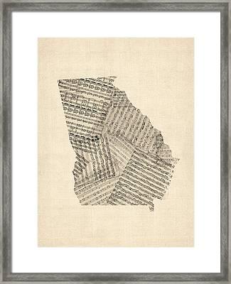Old Sheet Music Map Of Georgia Framed Print by Michael Tompsett
