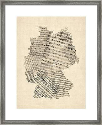 Old Sheet Music Map Of Germany Map Framed Print by Michael Tompsett