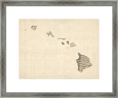 Old Sheet Music Map Of Hawaii Framed Print by Michael Tompsett