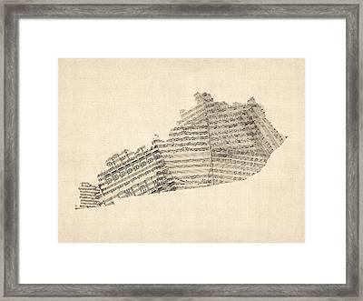 Old Sheet Music Map Of Kentucky Framed Print by Michael Tompsett