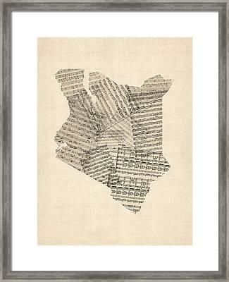 Old Sheet Music Map Of Kenya Map Framed Print by Michael Tompsett