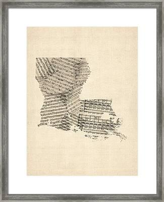 Old Sheet Music Map Of Louisiana Framed Print by Michael Tompsett