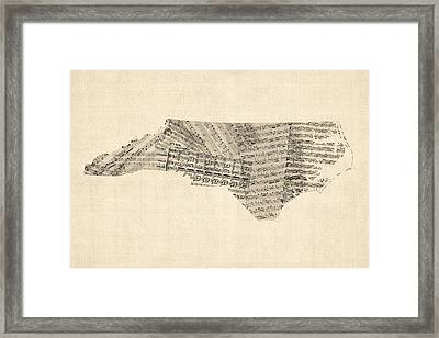 Old Sheet Music Map Of North Carolina Framed Print by Michael Tompsett