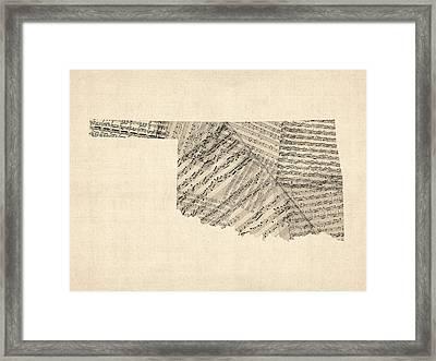 Old Sheet Music Map Of Oklahoma Framed Print by Michael Tompsett