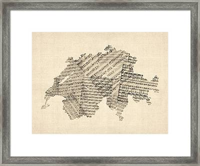 Old Sheet Music Map Of Switzerland Map Framed Print by Michael Tompsett