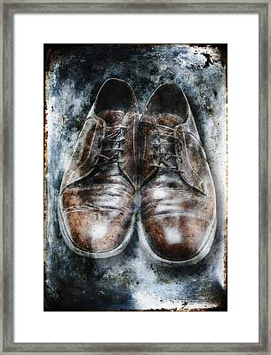 Old Shoes Frozen In Ice Framed Print by Skip Nall