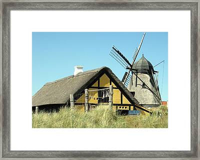Old Skagen House And Windmill Framed Print by Konni Jensen