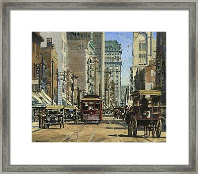 Old St. Louis 11th And Olive Framed Print by Don  Langeneckert