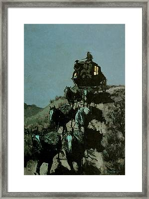 Old Stage Coach Of The Plains Framed Print by Frederick Remington