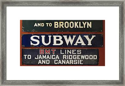 Old Subway Signs Framed Print by Dave Mills
