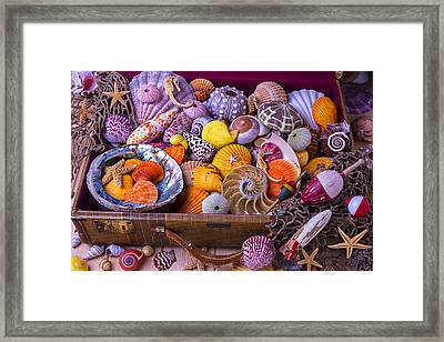 Old Suitcase With Seashells Framed Print by Garry Gay