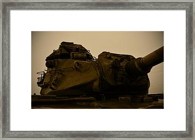 Old Tank Laid Out To Rest Framed Print by Richard Booth