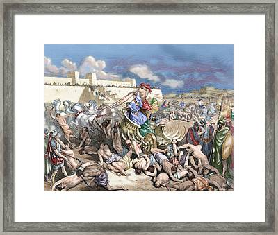 Old Testament Siege Of Rabbah. David Attacks The Ammonites Framed Print by Gustave Dore