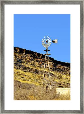 Old Texas Farm Windmill Framed Print by Christine Till