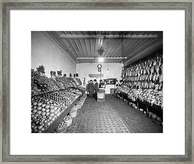 Old Time Grocery Store Framed Print by Underwood Archives
