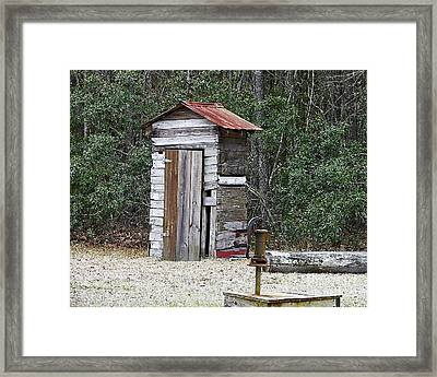 Old Time Outhouse And Pitcher Pump Framed Print by Al Powell Photography USA
