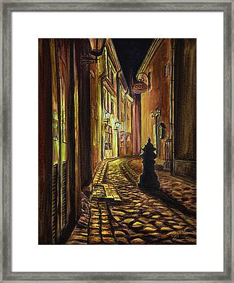 Old Town Street At Night Framed Print by Gynt Art