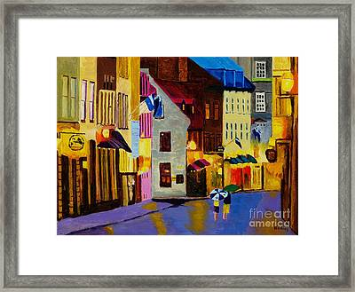 Framed Print featuring the painting Old Towne Quebec by Rodney Campbell
