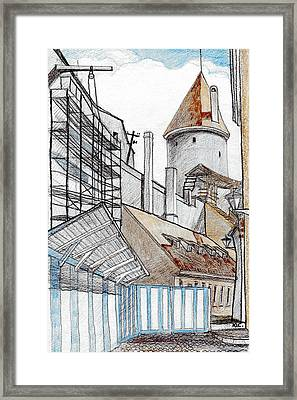 Old Town's Wall Framed Print by Serge Yudin