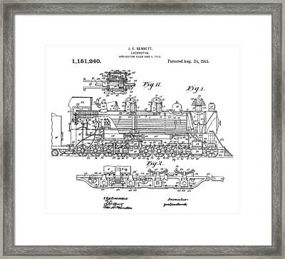 Old Train Patent Framed Print by Dan Sproul