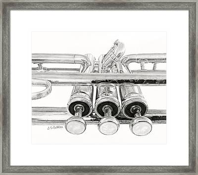 Old Trumpet Valves Framed Print by Sarah Batalka