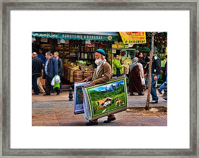 Poster Man At The Istanbul Spice Market Framed Print by David Smith