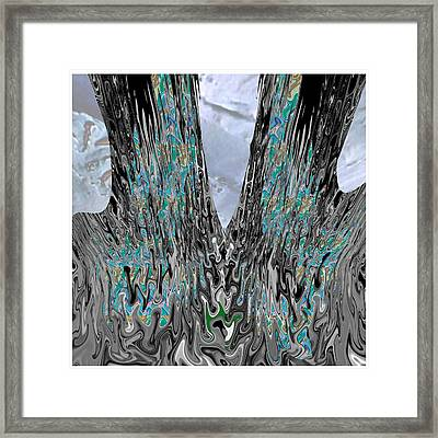 Old Twin Tree Trunks With Fungae Growth Looking Beautiful  Framed Print by Navin Joshi