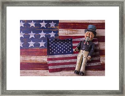 Old Uncle Sam And Flag Framed Print by Garry Gay
