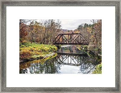 Old Vermont Train Bridge In Autumn Framed Print by Edward Fielding