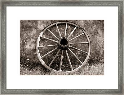Old Wagon Wheel Framed Print by Olivier Le Queinec