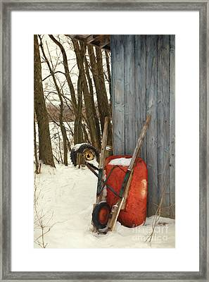 Old Wheelbarrow Leaning Against Barn/ Digital Painting Framed Print by Sandra Cunningham