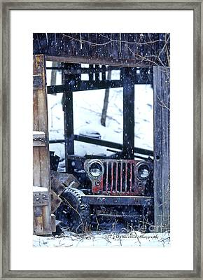 1g25 Old Willys Jeep In Old Barn Framed Print by Ohio Stock Photography