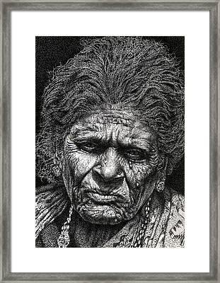 Old Woman In Sad Framed Print by Johnson Moya
