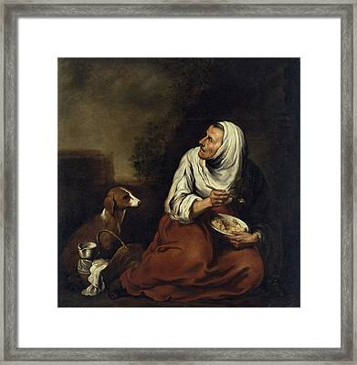 Old Woman With Dog Oil On Canvas See Also 160057 Framed Print by Bartolome Esteban Murillo