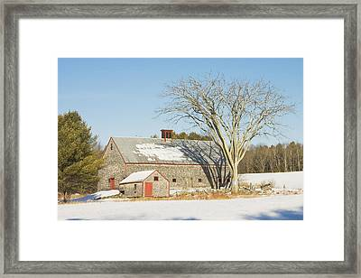 Old Wood Shingled Barn In Winter Maine Framed Print by Keith Webber Jr