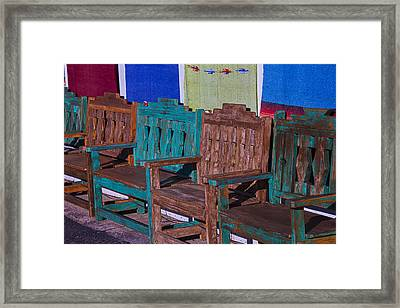 Old Wooden Benches Framed Print by Garry Gay