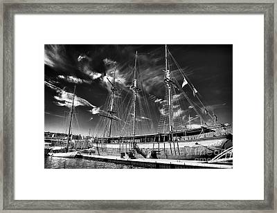 Old World Sailboat Framed Print by John Rizzuto