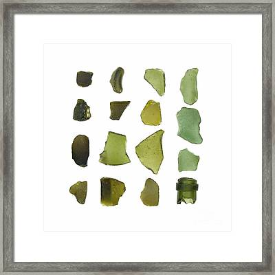 Olive Green Sea Glass Framed Print by Jennifer Booher