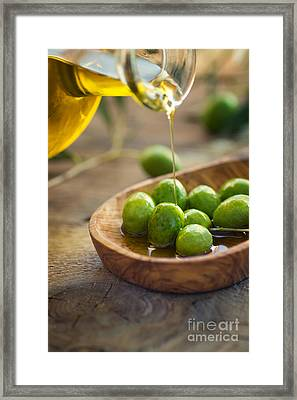 Olive Oil Framed Print by Mythja  Photography