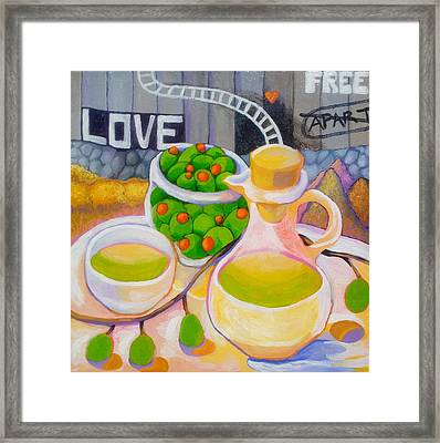Olives Behind A Wall Framed Print by Corey Habbas