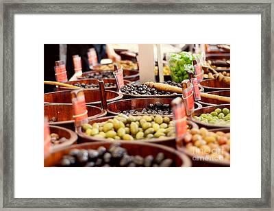 Olives In Barrels Framed Print by Ivy Ho