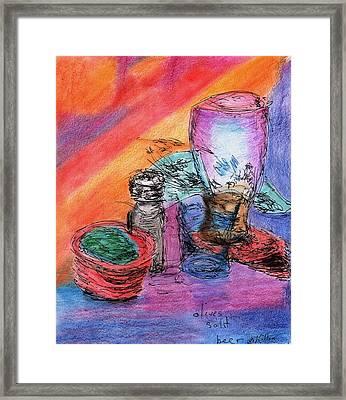 Olives Salt Beer Framed Print by William Killen
