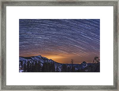 Olmstead Point Star Trails Framed Print by Cat Connor