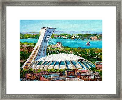 Olympic Stadium Montreal Painting Velodrome Biodome Heritage Art By City Scene Artist Carole Spandau Framed Print by Carole Spandau