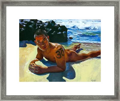 Om Tattoo Framed Print by Douglas Simonson