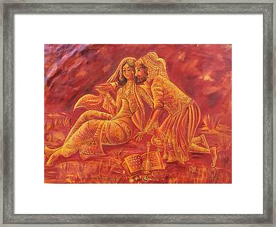 Omar Khayyam Romantic Scene In Two Tone Red And Gold Framed Print by Jyoti Sharma